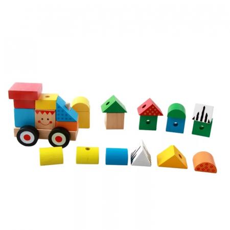 Trenulet lemn Montessori stivuire cuburi, Toyska [2]