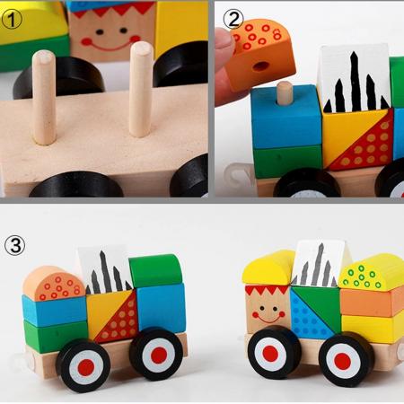 Trenulet lemn Montessori stivuire cuburi, Toyska [0]