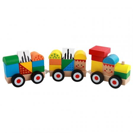 Trenulet lemn Montessori stivuire cuburi, Toyska [1]