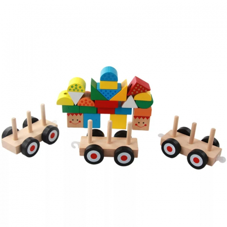 Trenulet lemn Montessori stivuire cuburi, Toyska [3]