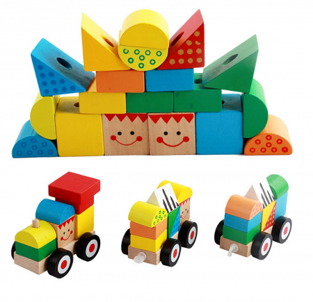 Trenulet lemn Montessori stivuire cuburi, Toyska [4]
