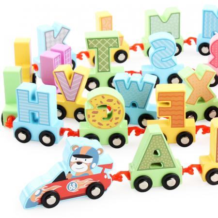 Jucarie trenulet Alfabet din lemn, 27 piese, Toyska [2]