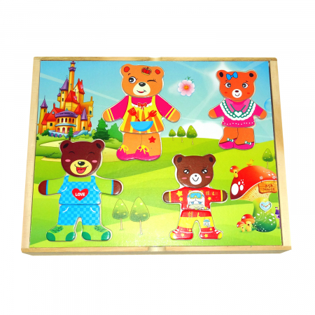 Joc Puzzle din lemn Imbraca Ursuletii, Toyska [0]