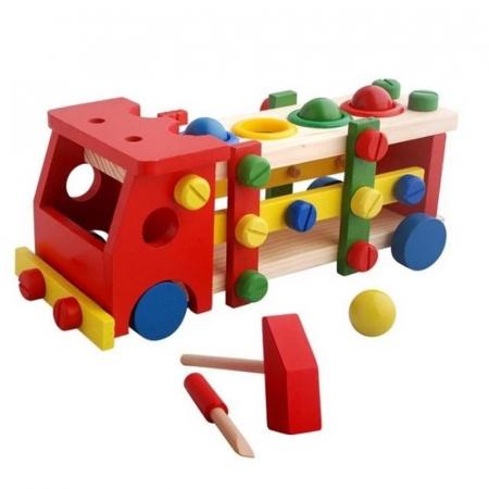 Banc de scule si ciocan cu bile din lemn Camionul 2 in 1, Toyska [0]