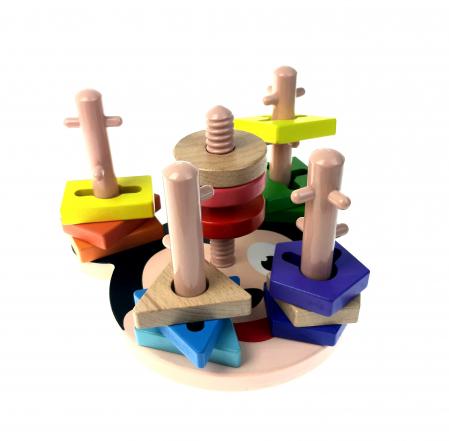 Sortator Montessori forme geometrice, 5 coloane, Toyska [0]