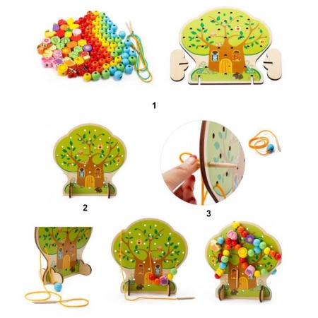 Joc Montessori 2 in 1 Pomul cu fructe, snuruit si insirat, Toyska [4]