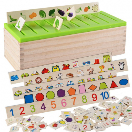 Cutie sortatoare Montessori cu 90 de piese, multicolor [2]