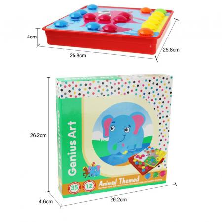 Joc creativ mozaic Genius Art, Animale, 12 cartonase, 35 de butoni, Toyska [2]