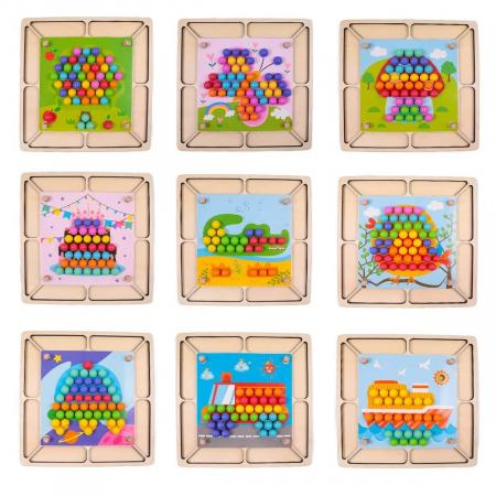 Joc Mozaic cu bile din lemn, indemanare si asociere culori, Toyska [4]