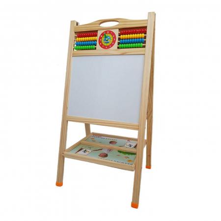 Tabla educativa din lemn 3 in 1 sevalet, 90x45, Toyska [3]