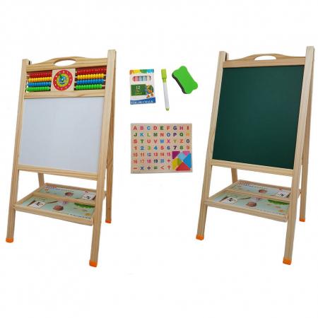 Tabla educativa din lemn 3 in 1 sevalet, 90x45, Toyska [0]