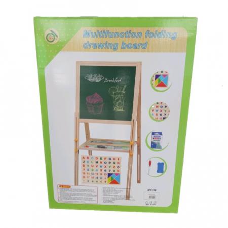 Tabla educativa reglabila din lemn, 3 in 1 sevalet, 71x51, Toyska [1]
