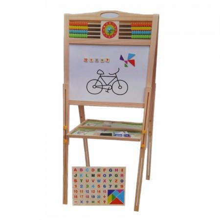 Tabla educativa reglabila din lemn, 3 in 1 sevalet, 80x58, Toyska [2]