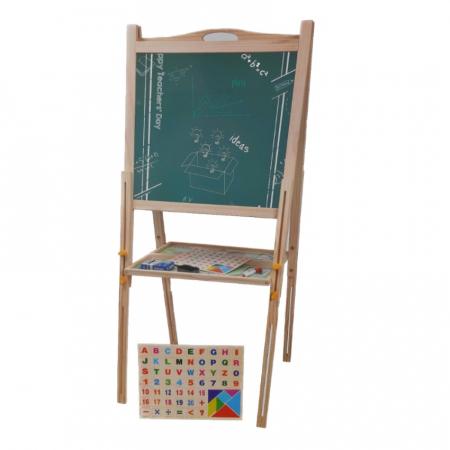Tabla educativa reglabila din lemn, 3 in 1 sevalet, 80x58, Toyska [1]