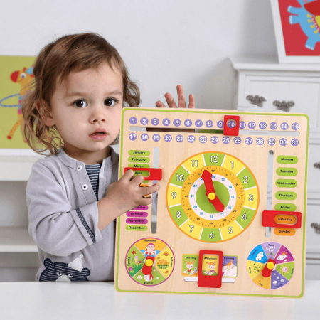 Jucarie Calendar si ceas din lemn limba engleza, Toyska [0]