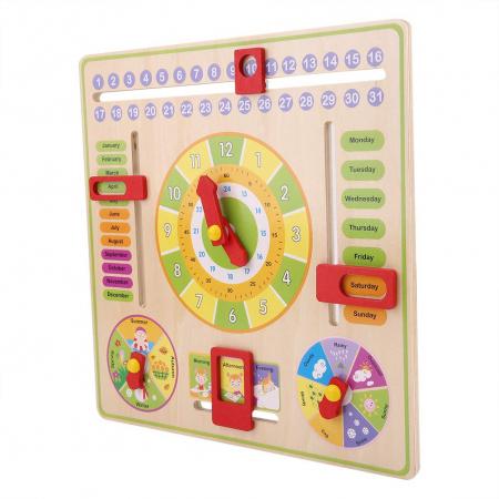 Jucarie Calendar si ceas din lemn limba engleza, Toyska [1]