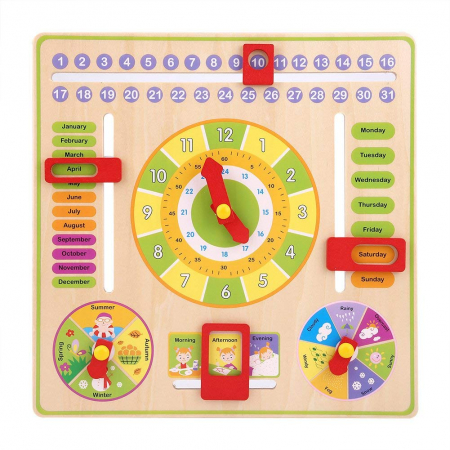 Jucarie Calendar si ceas din lemn limba engleza, Toyska [2]