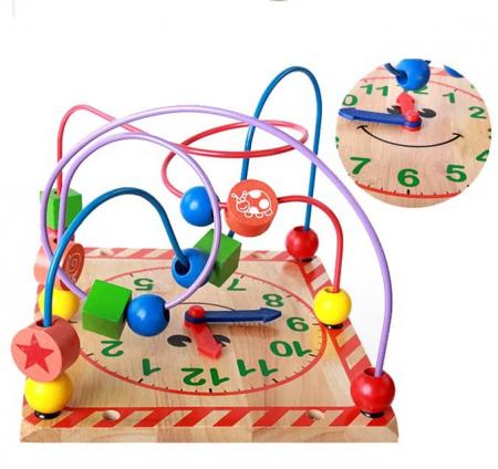Cub din lemn educativ 6 in 1 activitati Busy Beads Panda, Toyska [3]