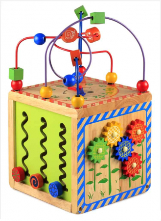 Cub din lemn educativ 6 in 1 activitati Busy Beads Panda, Toyska [2]