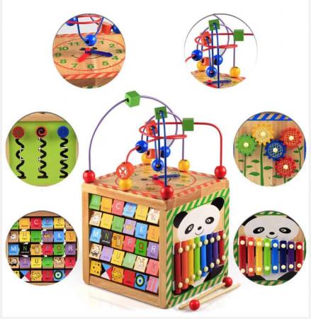 Cub din lemn educativ 6 in 1 activitati Busy Beads Panda, Toyska [1]