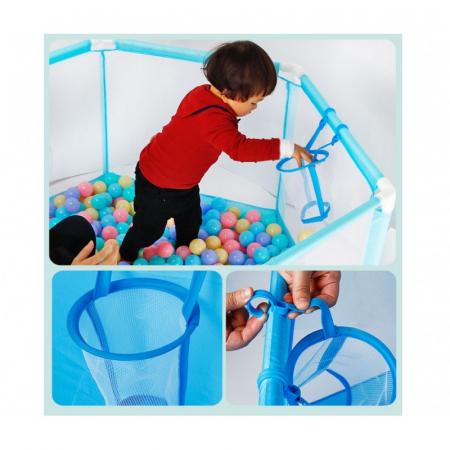 Tarc de joaca pentru bebelusi ,146x66, 50 bile, Albastru, Toyska [2]
