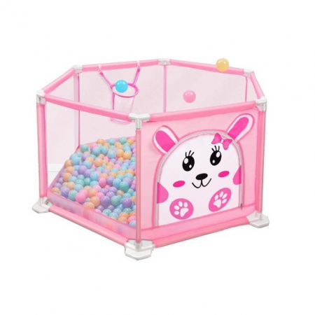 Tarc de joaca pentru bebelusi, 146x66, 50 bile, Roz, Toyska [0]