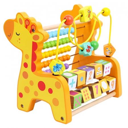 Abac cu bile 3 in 1, Numaratoare din lemn Girafa [0]