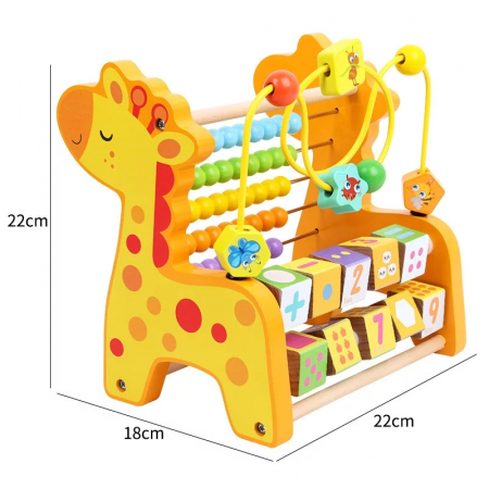 Abac cu bile 3 in 1, Numaratoare din lemn Girafa [4]