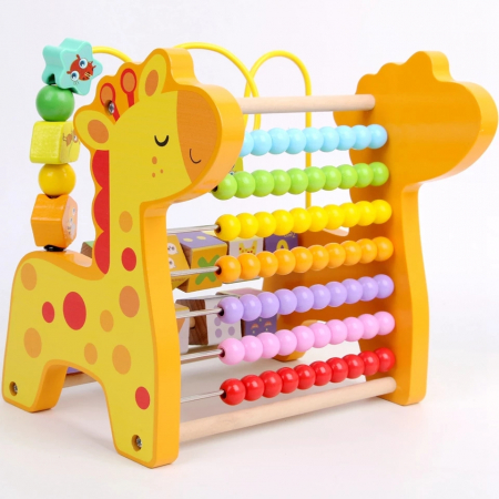 Abac cu bile 3 in 1, Numaratoare din lemn Girafa [3]