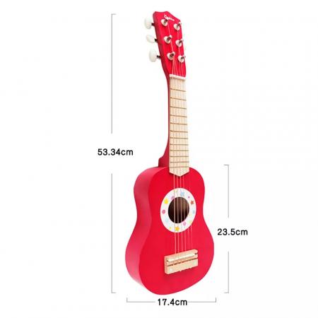 Chitara clasica din lemn de jucarie, 53 cm, Rosu, Toyska [3]