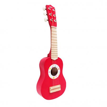 Chitara clasica din lemn de jucarie, 53 cm, Rosu, Toyska [0]