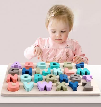 Puzzle lemn Alfabet 3D, litere mari, Toyska [2]