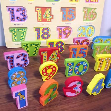 Puzzle 3D lemn numere in engleza 1-20, Toyska [2]