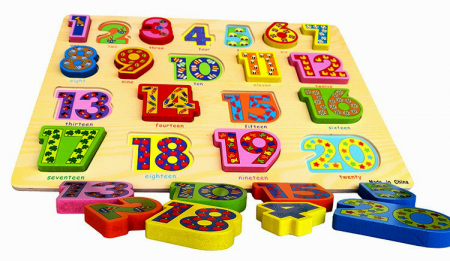 Puzzle 3D lemn numere in engleza 1-20, Toyska [3]