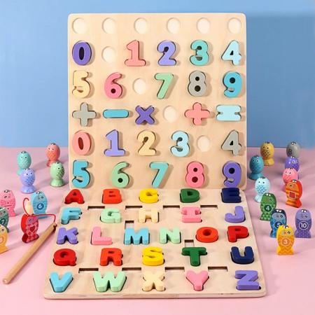 Puzzle 3D lemn Cifre si joc pescuit 2 in 1, Toyska [2]