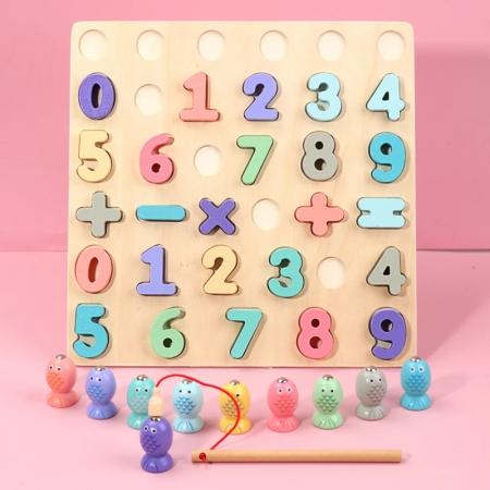 Puzzle 3D lemn Cifre si joc pescuit 2 in 1, Toyska [1]