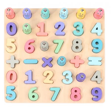 Puzzle 3D lemn Cifre si joc pescuit 2 in 1, Toyska [0]
