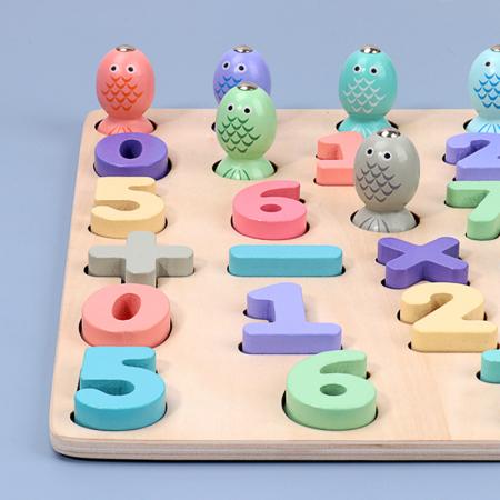 Puzzle 3D lemn Cifre si joc pescuit 2 in 1, Toyska [3]