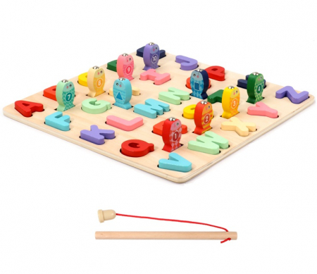Puzzle 3D lemn Litere si joc pescuit 2 in 1, Toyska [1]