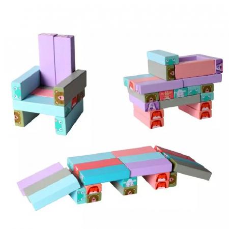 Joc Jenga din lemn cu Animale, 54 piese, Toyska [1]