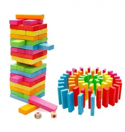 Cuburi Lemn Jenga Turnul Instabil Colorate, Toyska [1]