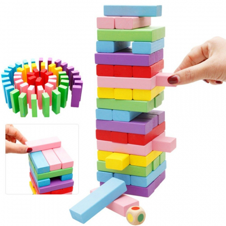 Cuburi Lemn Jenga Turnul Instabil Colorate, Toyska [2]