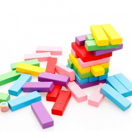 Cuburi Lemn Jenga Turnul Instabil Colorate, Toyska [0]