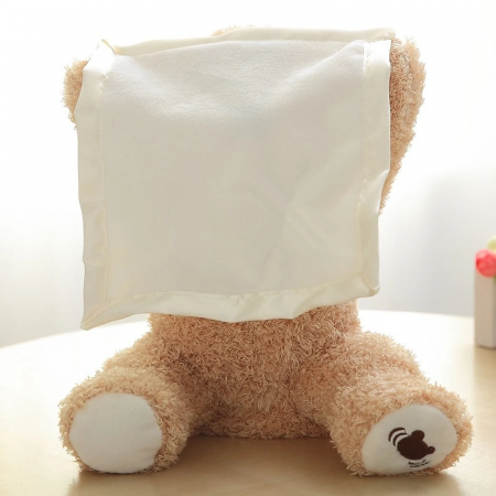 Ursulet de plus Cucu-Bau, Peek a boo, melodie in limba Engleza, 26 cm, crem [1]