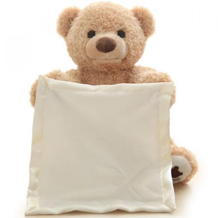 Ursulet de plus Cucu-Bau, Peek a boo, melodie in limba Engleza, 26 cm, crem [2]