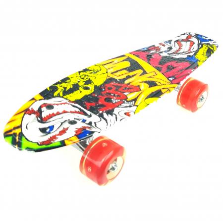 Penny Board Graffiti cu roti luminoase LED, 42 cm, Rosu, Toyska [0]