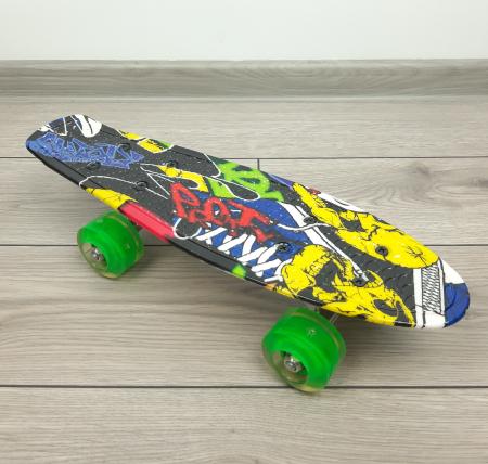 nny Board Graffiti cu roti luminoase LED, 42 cm, Verde, Toyska [2]