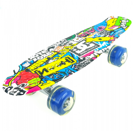 Penny Board Graffiti cu roti luminoase LED, 42 cm, Albastru, Toyska [2]