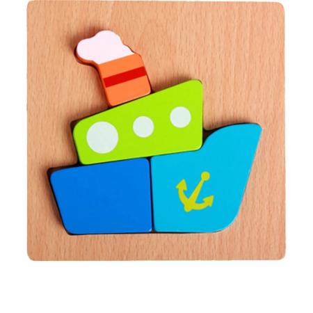 Set 4 Puzzle Incastru din lemn 3D, model J [2]