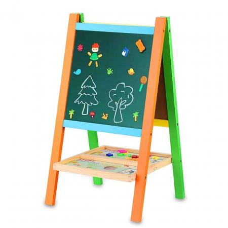 Tabla educativa din lemn 3 in 1 sevalet, 65x36 cm [0]